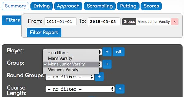 group report filters